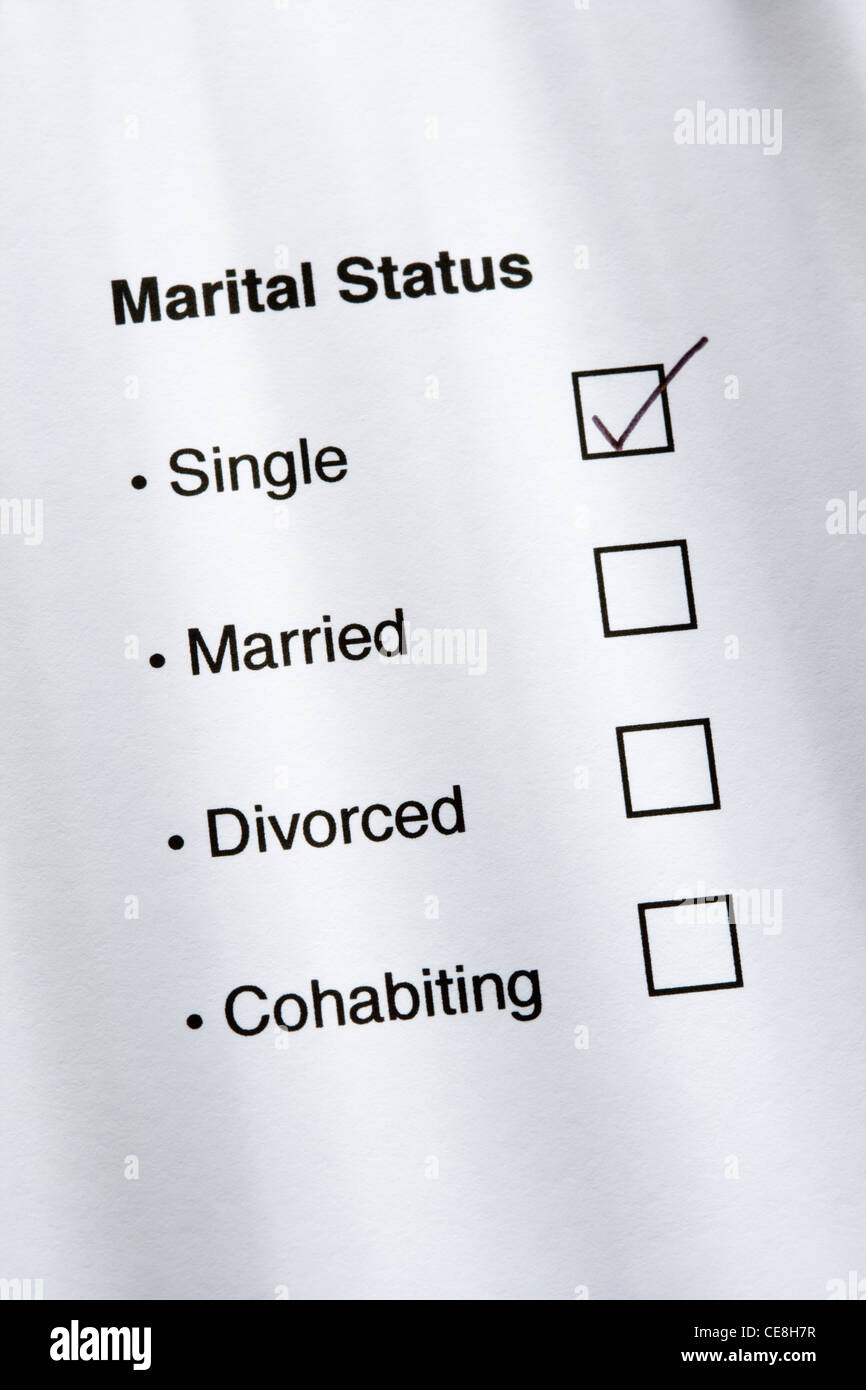 Marital status questionnaire, single ticked. - Stock Image