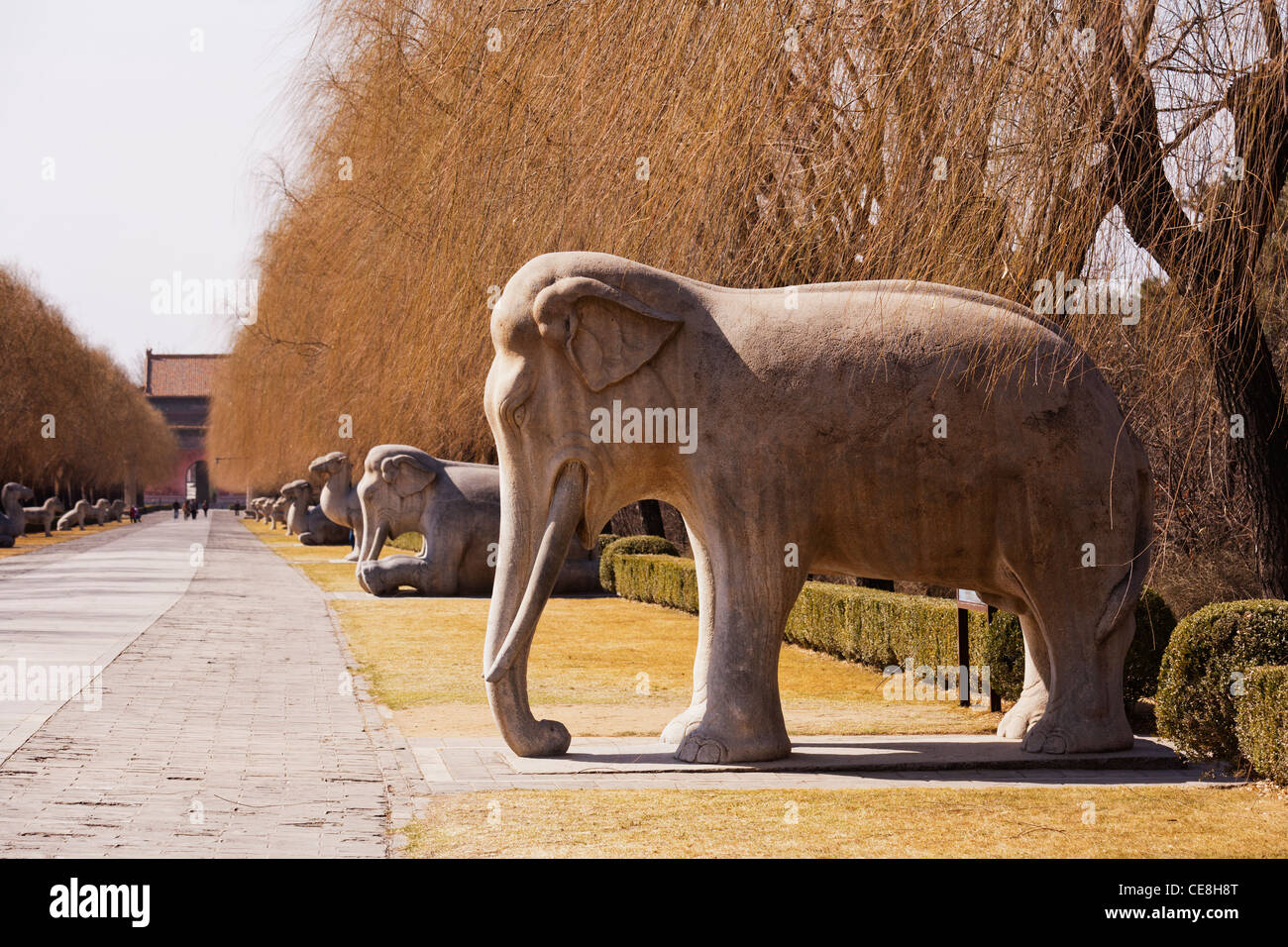 Sculptures on the Sacred or Spirit Way leading to the Ming Tombs outside Beijing, China. - Stock Image