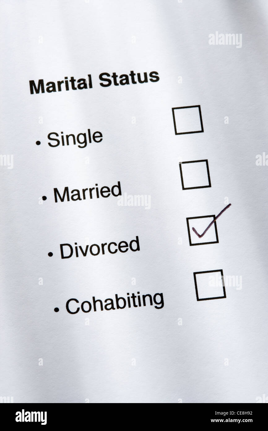 Marital status questionnaire, divorced ticked. - Stock Image