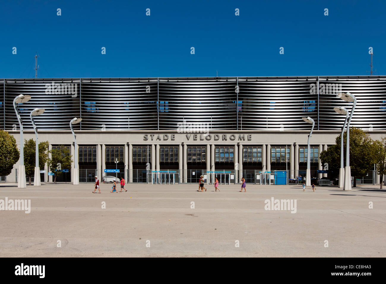 Stade Velodrome, Olympique Marseille stadium, Rennoved by the Architect Jean-Pierre Buffi, Marseilles, Bouche du - Stock Image