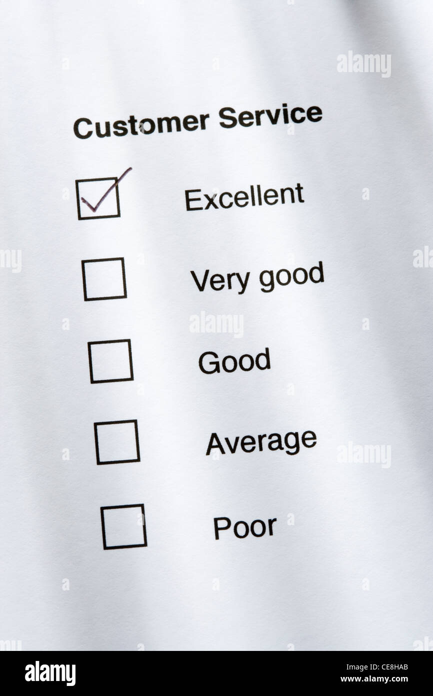 Customer service survey - excellent - Stock Image