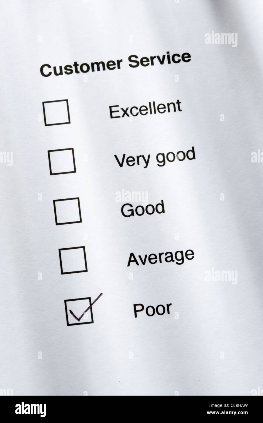 Customer service survey - poor - Stock Image