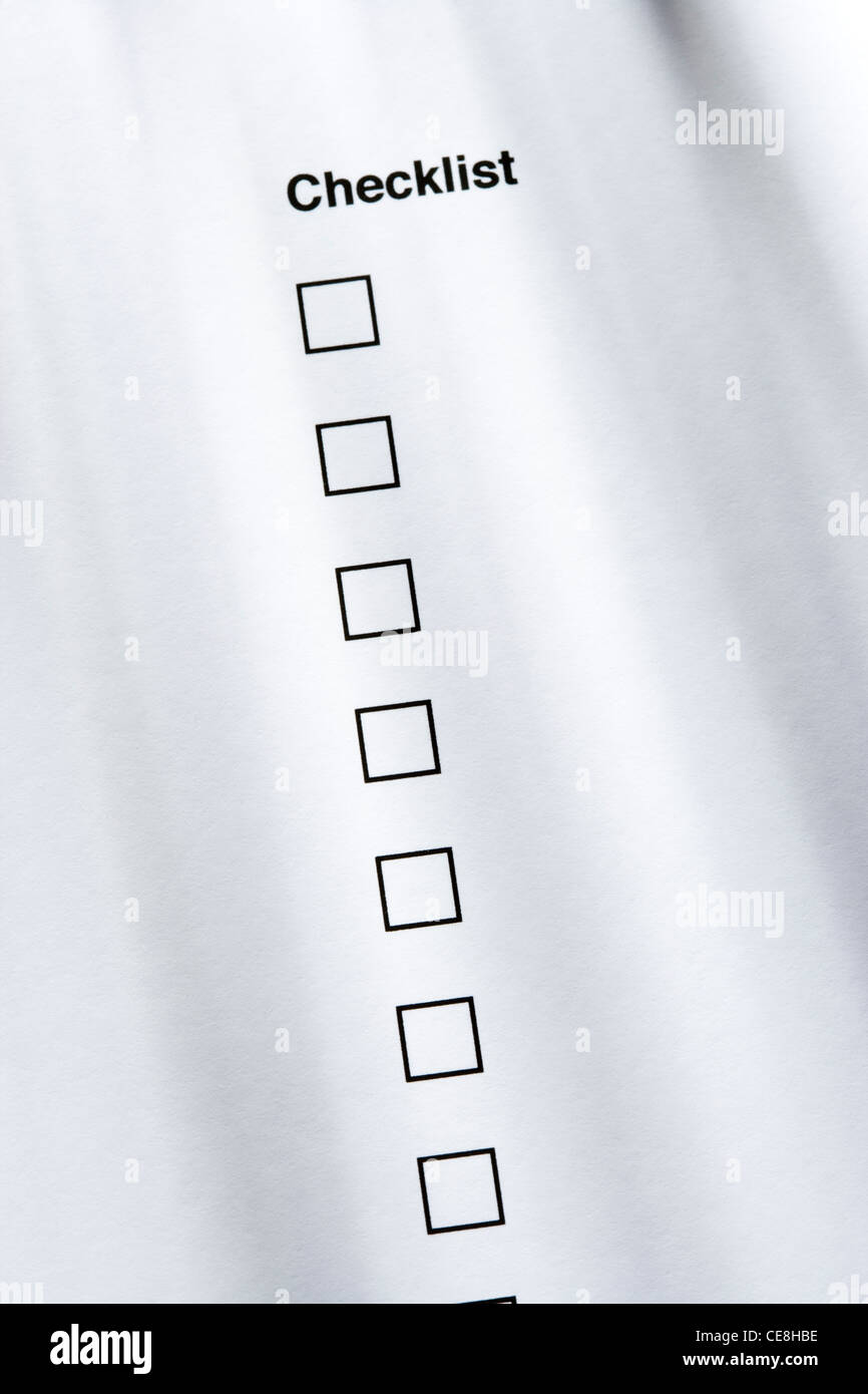 Checklist, none ticked - Stock Image