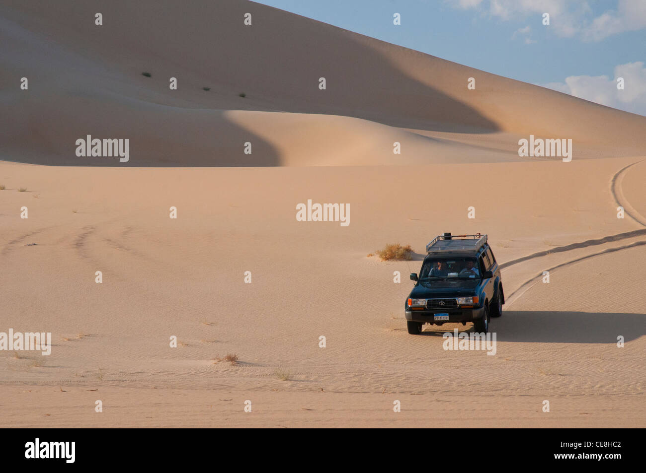 Offroading in the Great Sand Sea, Western Desert, Egypt - Stock Image