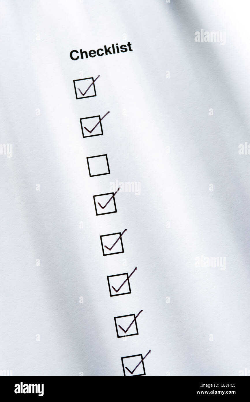 Checklist, one box not ticked - Stock Image