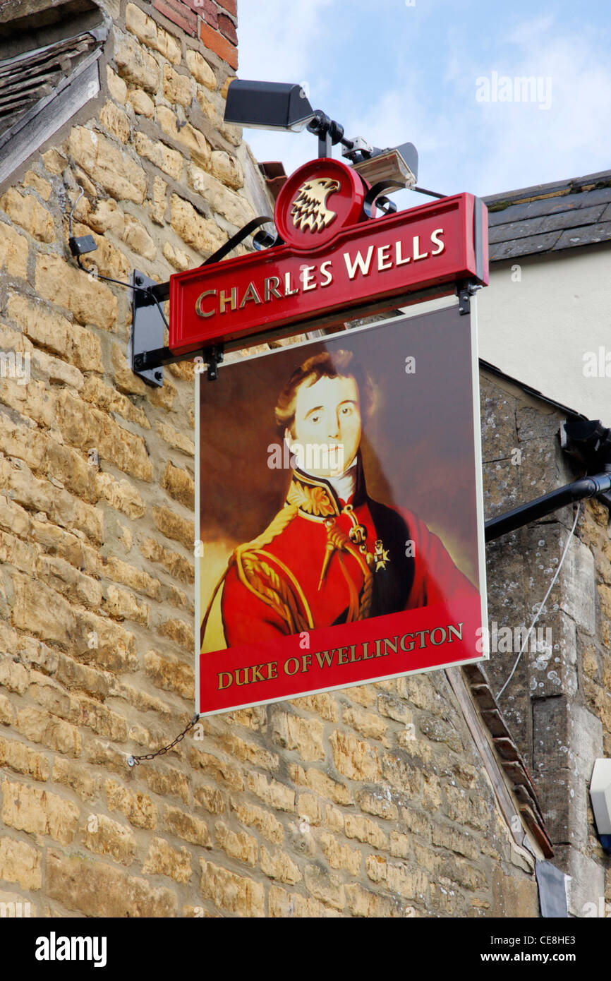 Pub sign, The Duke of Wellington Inn, Bourton on the Water in the Cotswolds. - Stock Image