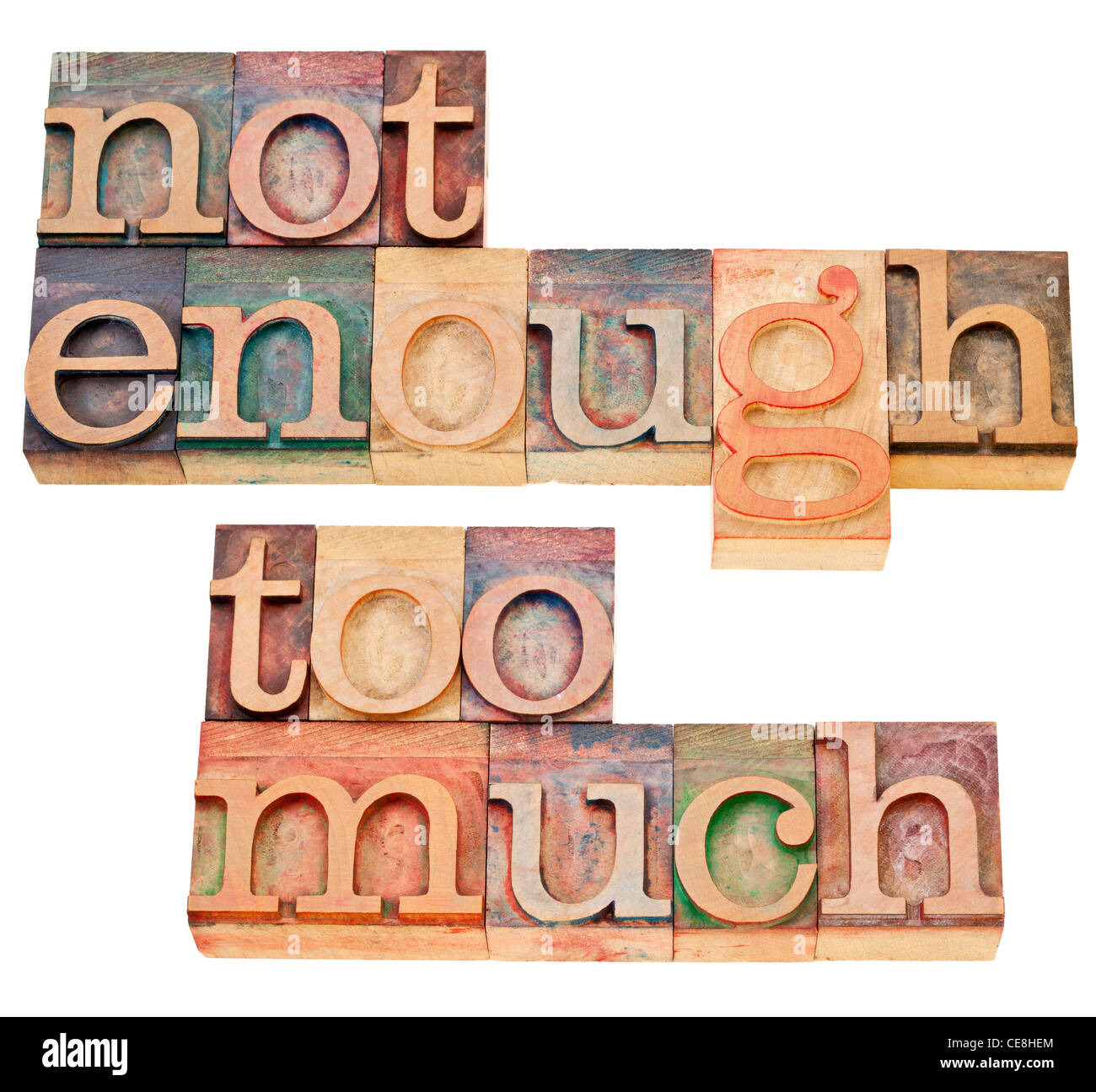 not enough, too much - supply and demand or consumerism concept - a collage of isolated text - Stock Image