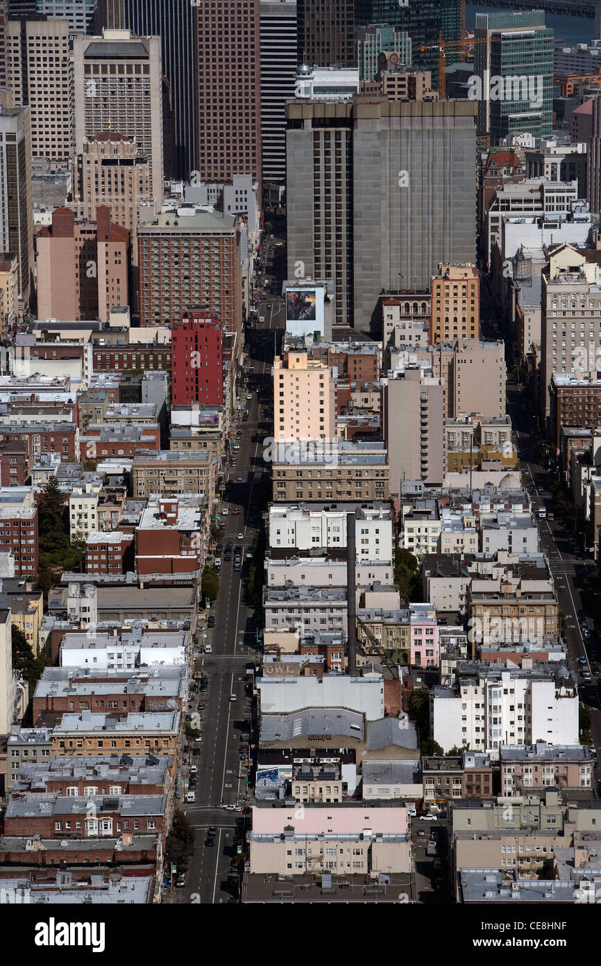 aerial photograph down Post Street toward financial center San Francisco California - Stock Image
