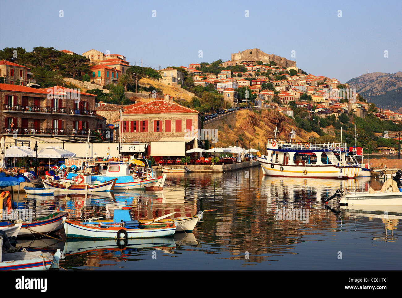 Molyvos town in Lesvos island, northern Aegean, Greece - Stock Image