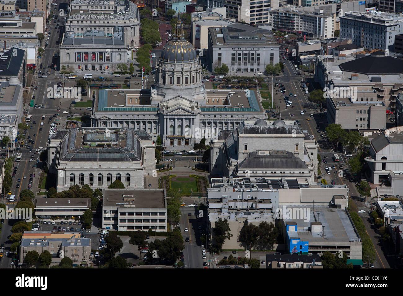 aerial photograph City Hall Civic Center San Francisco, California - Stock Image