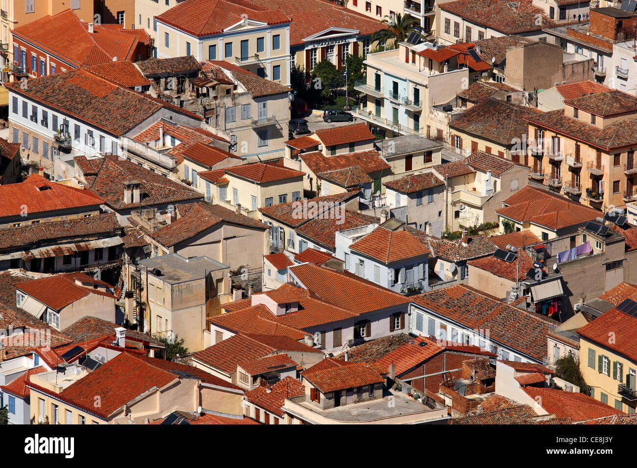 'Detail' from the old part Nafplio town with its characteristic red tile roofs. Photo taken from Palamidi - Stock Image