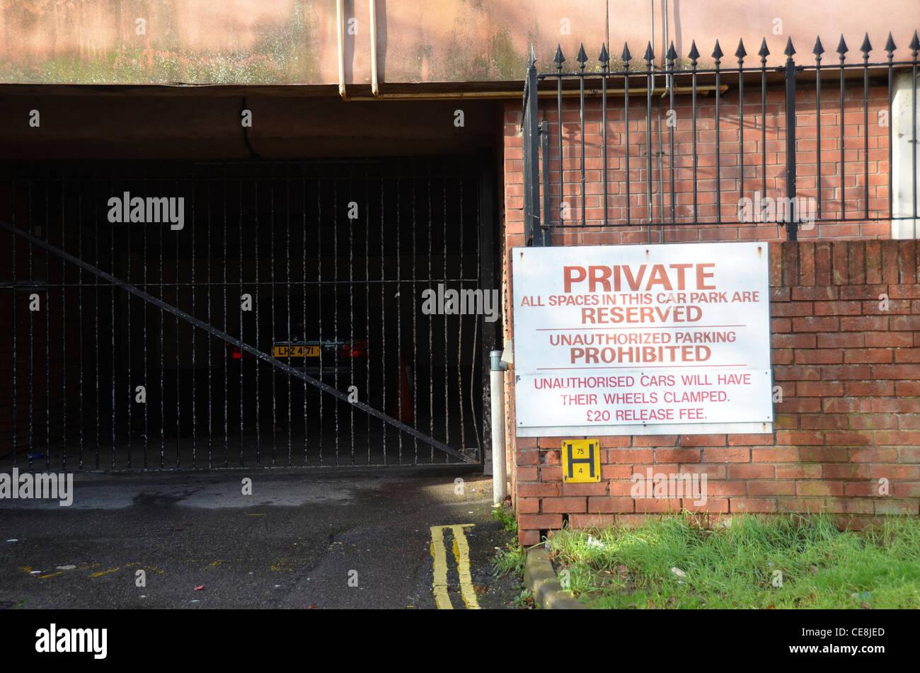 Private car park sign, gate, Bristol, England, UK Stock Photo