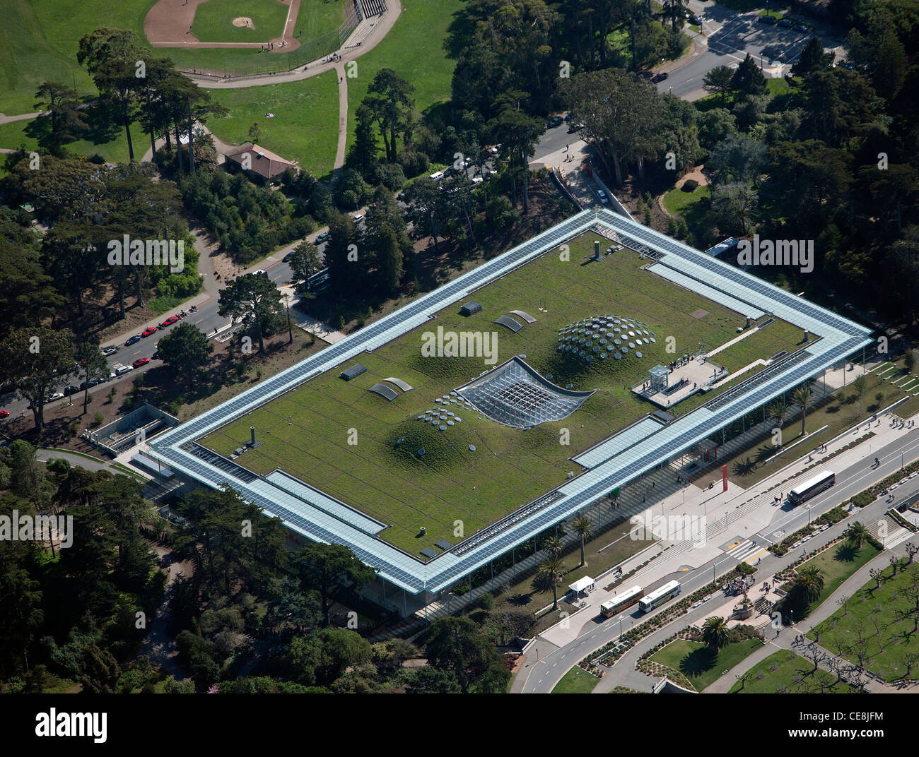 aerial photograph green roof, California Academy of Sciences museum Golden Gate Park San Francisco - Stock Image