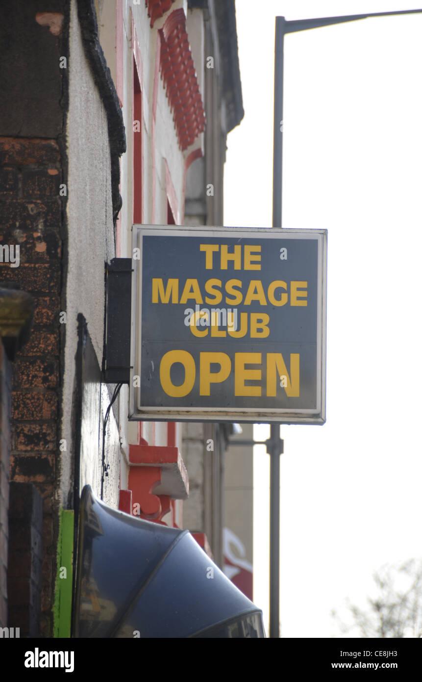 The Massage Club, sign, Stokes Croft, Bristol, England, UK - Stock Image