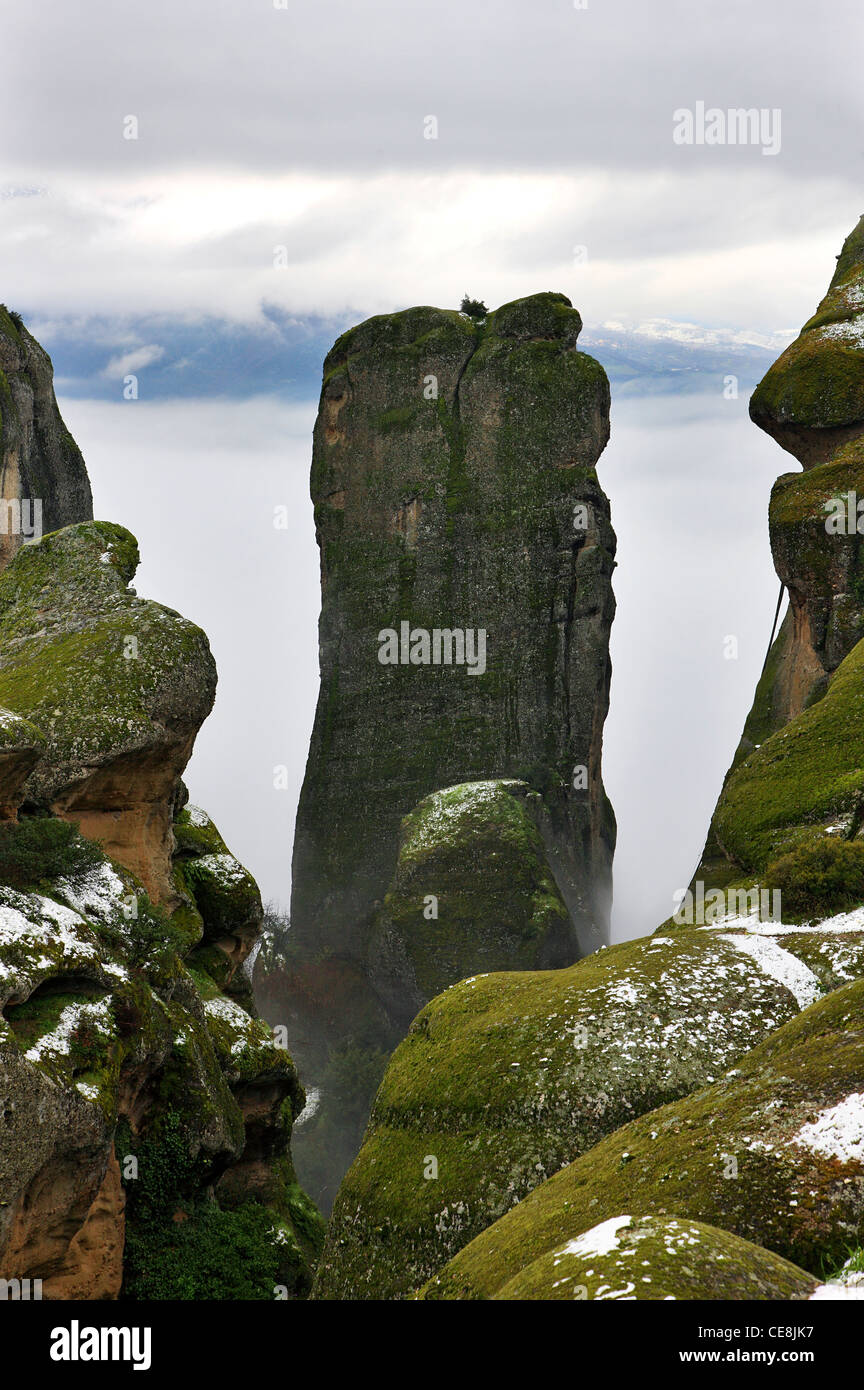 Spectacular wintry view of  one of the most famous rocks of Meteora (I think it is called 'Pixari'), Trikala, - Stock Image