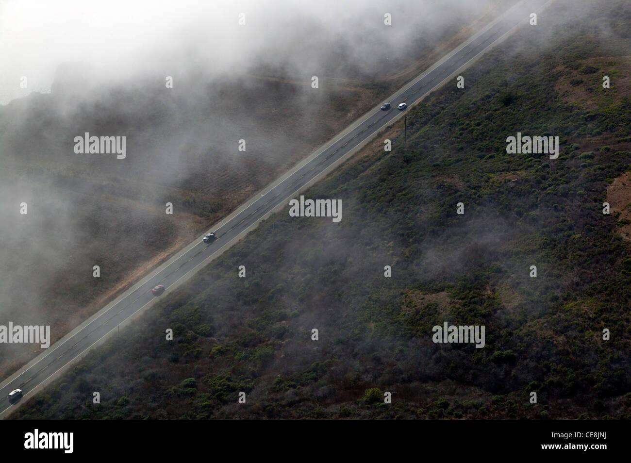 aerial photograph Highway One coastal Santa Cruz county, California - Stock Image