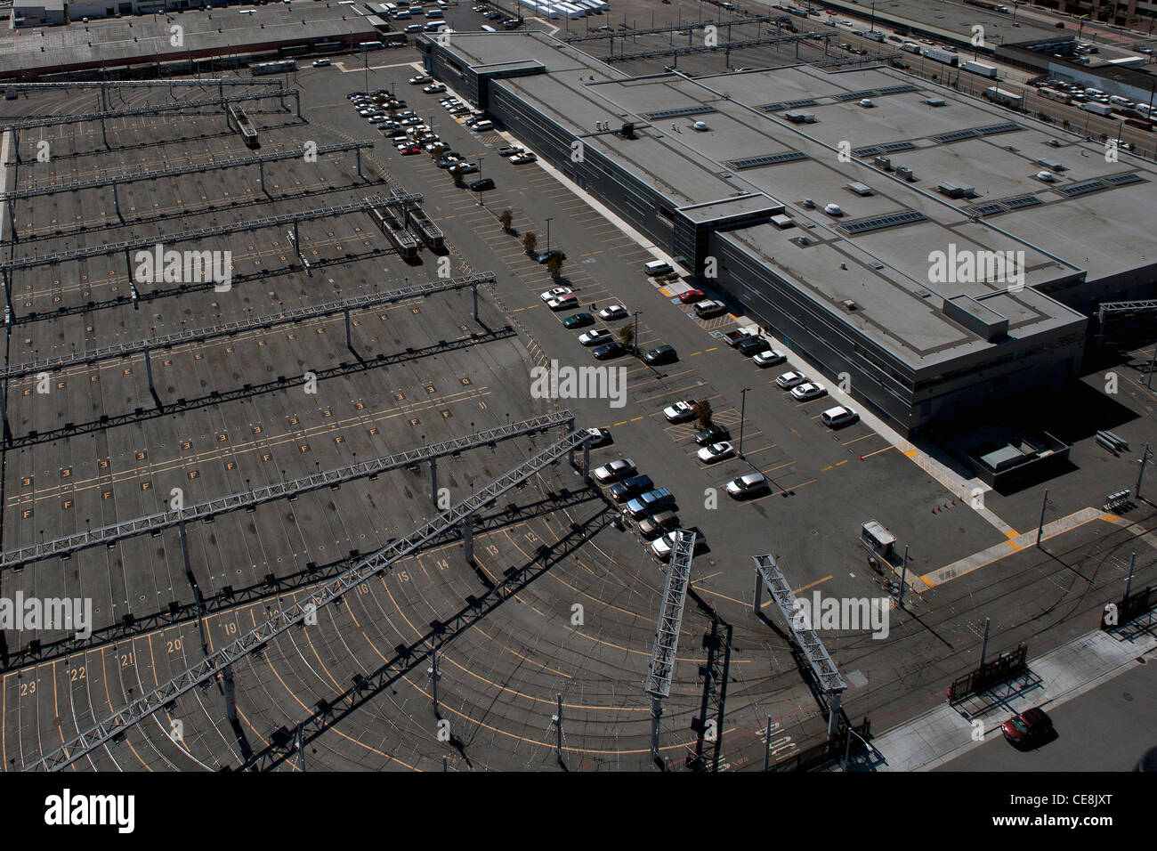 aerial photograph San Francisco Muni Metro East  rail yard and storage and maintenance facility - Stock Image