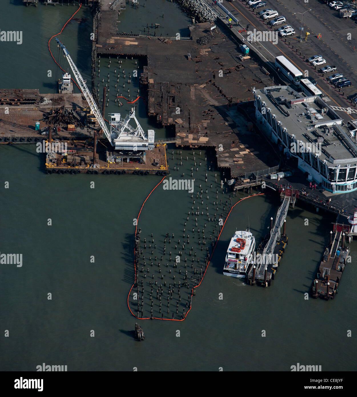 aerial photograph pier maintenance San Francisco, California - Stock Image