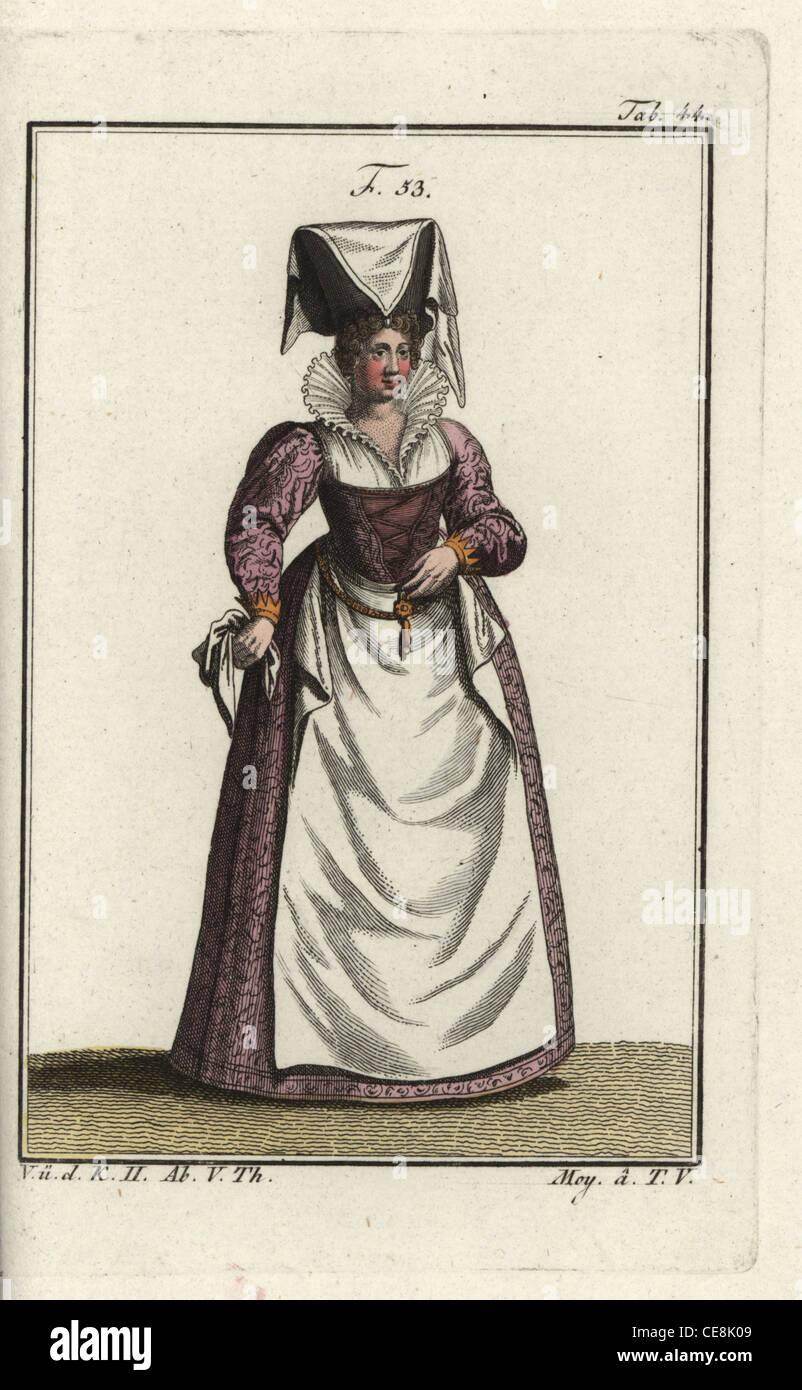 Noblewoman of Lorraine, wearing an eccentric high headdress of linen - Stock Image