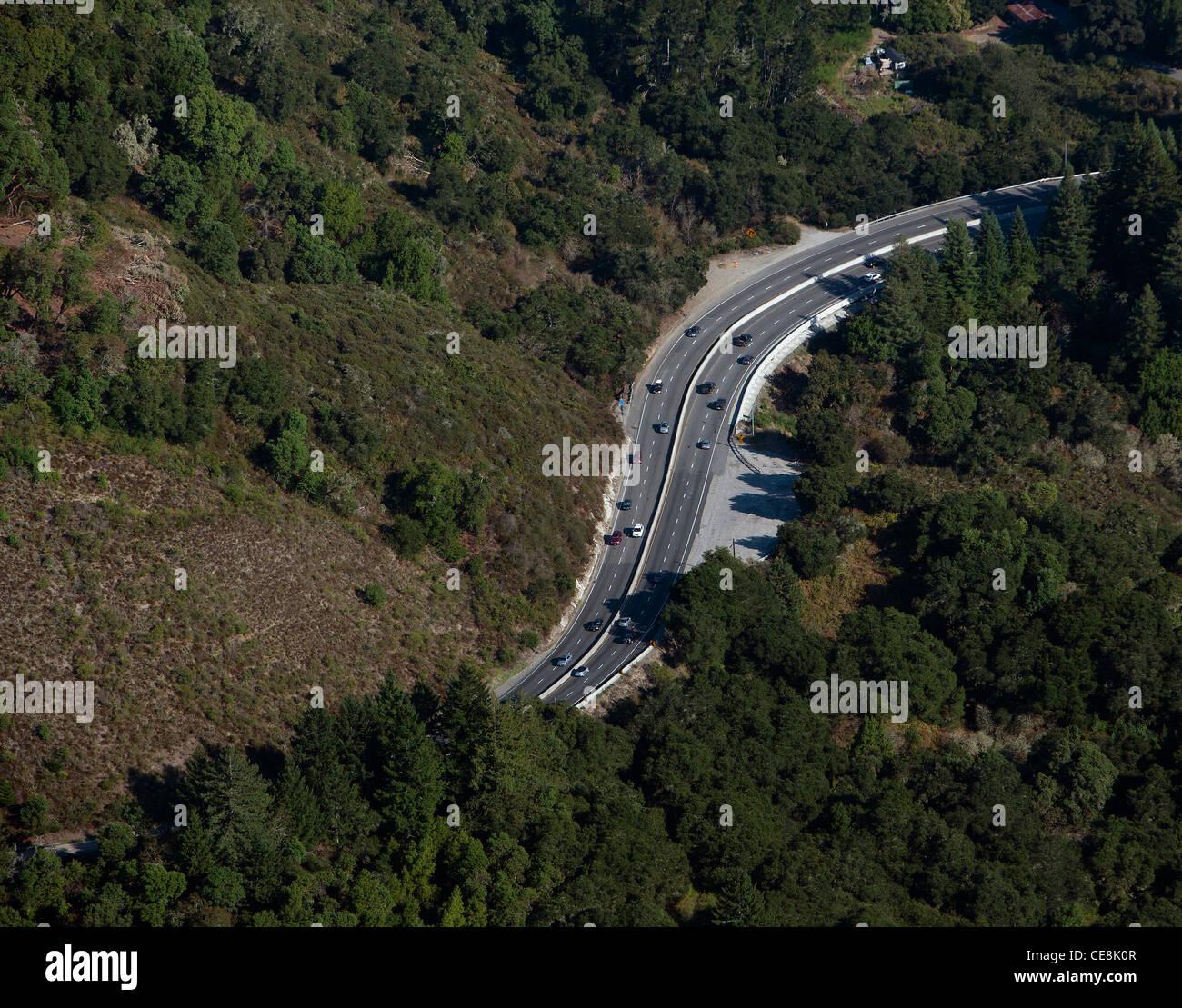 aerial photograph highway 17 Santa Cruz county, California - Stock Image