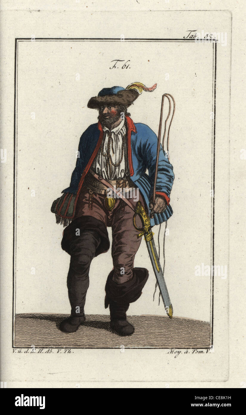 German coachman of the 16th century with whip, high boots and sabre. - Stock Image