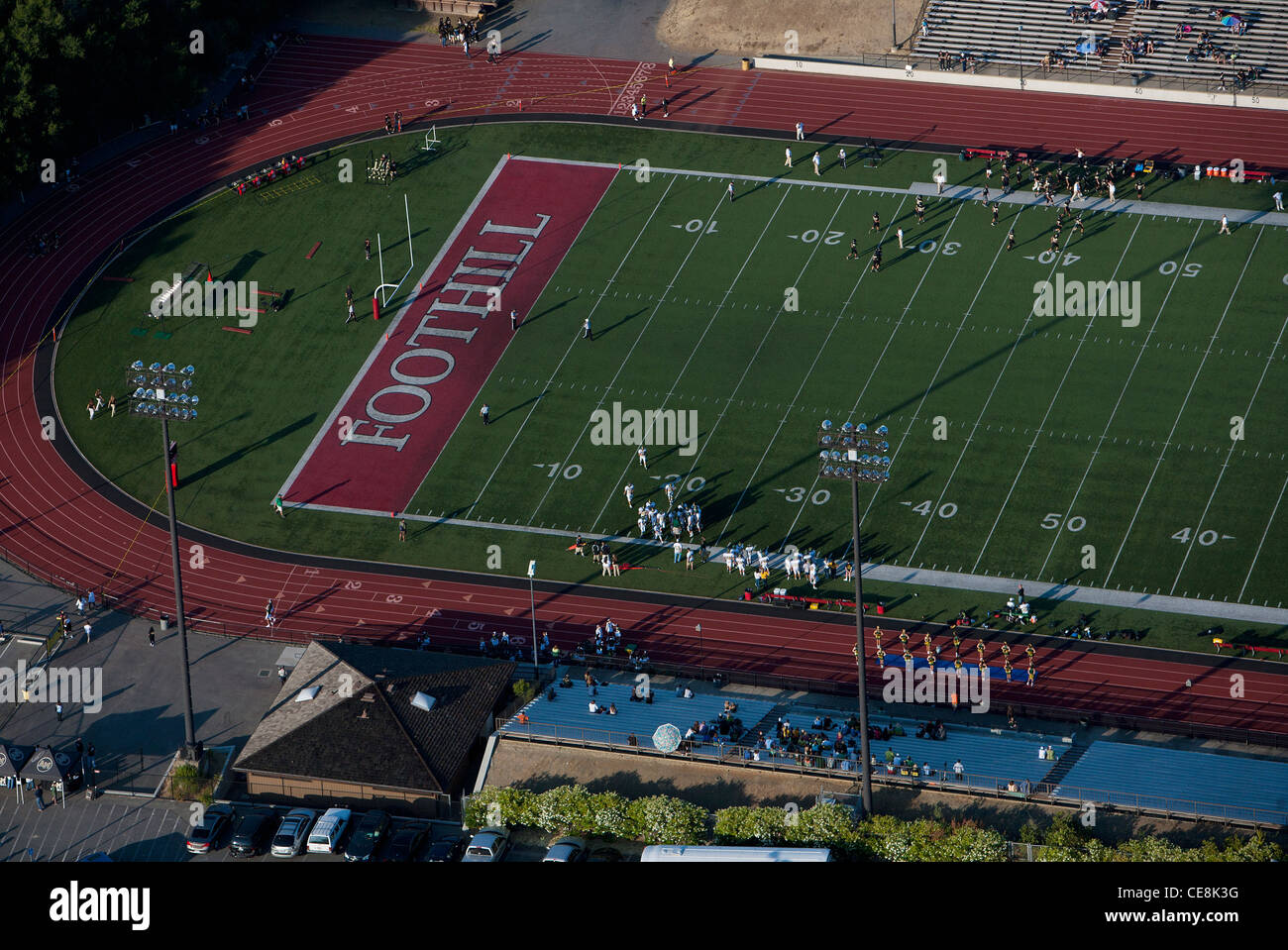 aerial photograph football game Foothill College Los Altos Hills, California - Stock Image