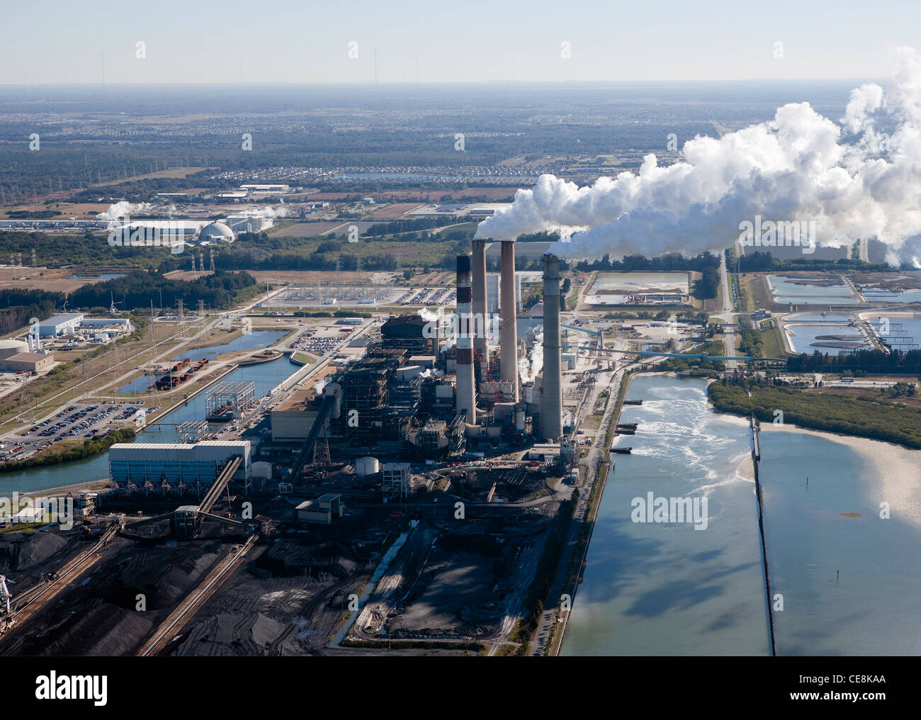 aerial photograph Big Bend Power Station Tampa, Florida - Stock Image
