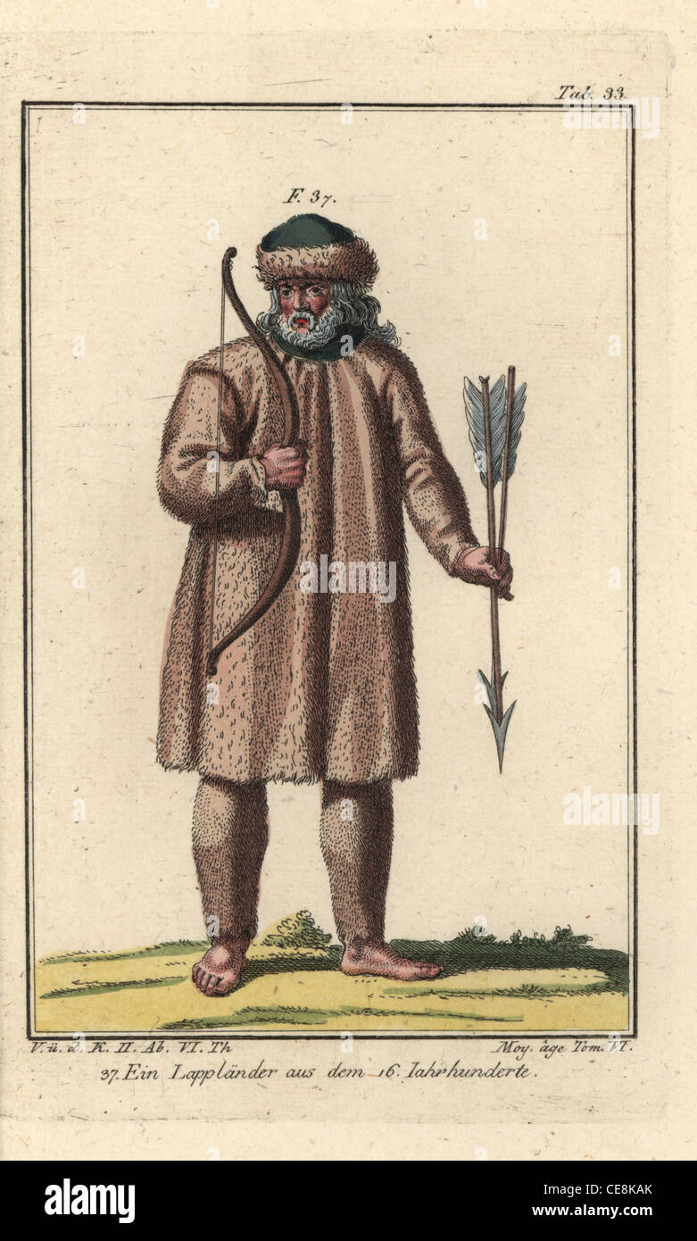 Laplander of the 1600s, wearing clothes and hat of fine fur. - Stock Image