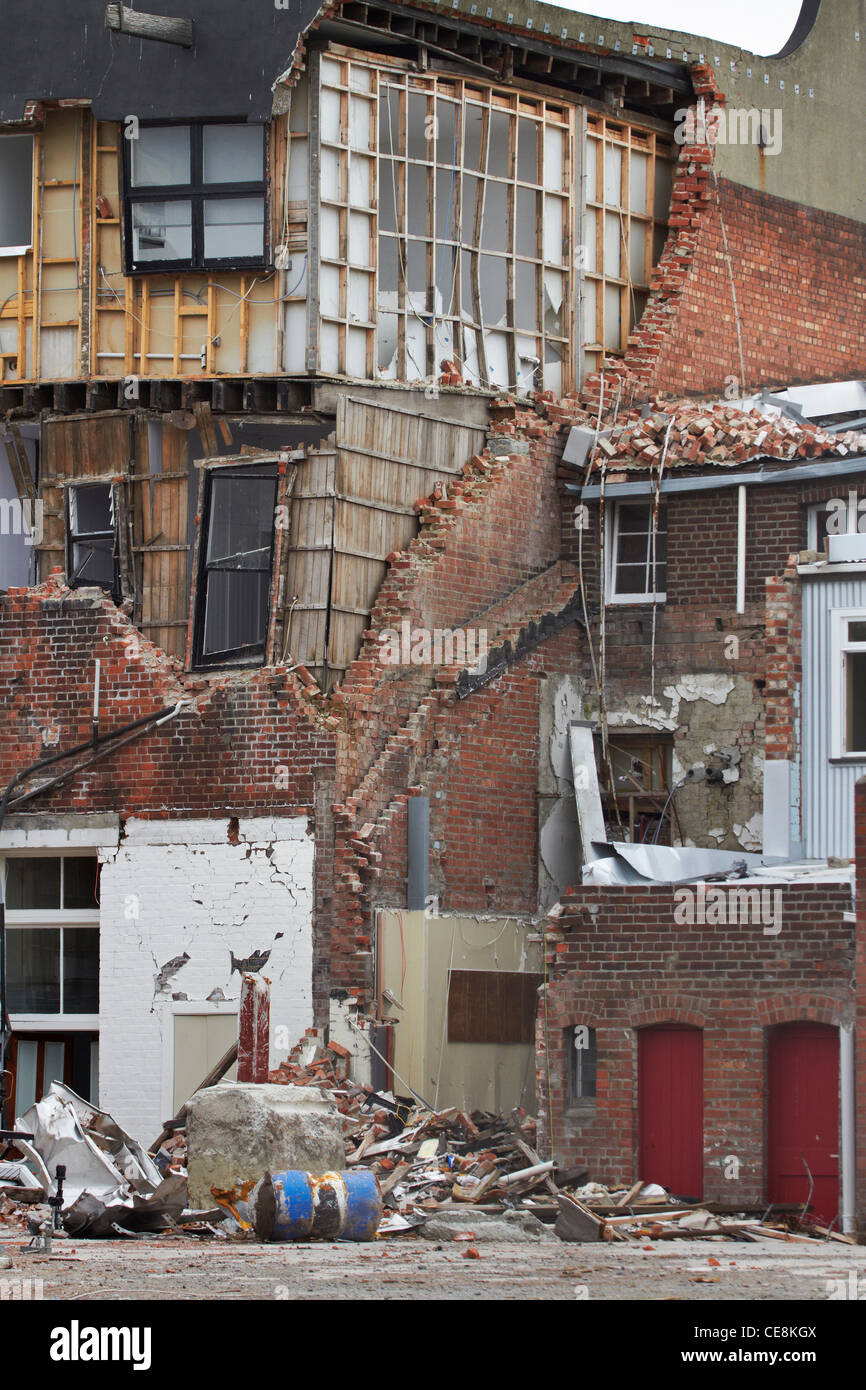Earthquake-damaged buildings, High Street, Christchurch, Canterbury, South Island, New Zealand - Stock Image