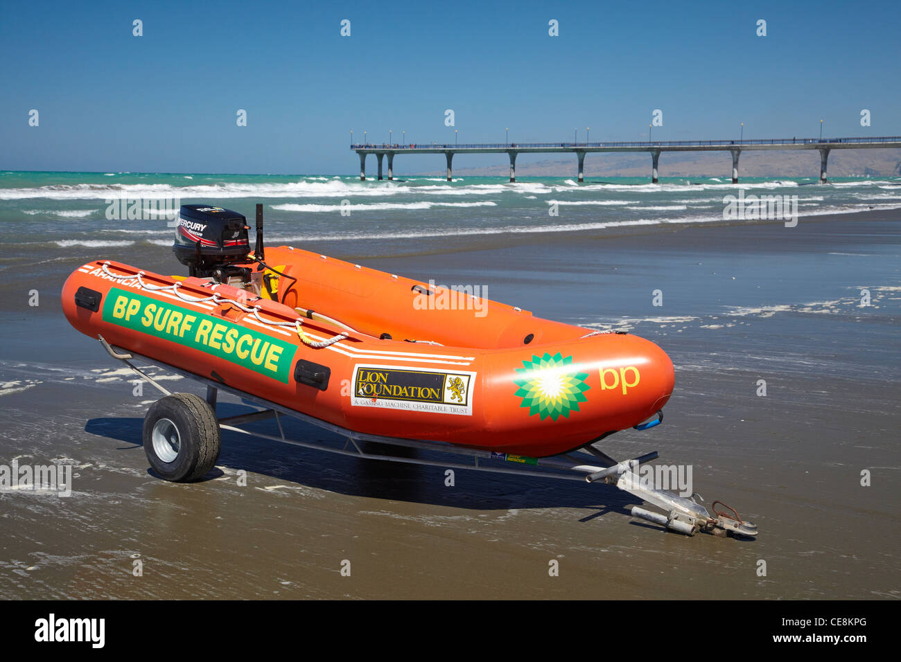 Inflatable surf rescue boat, New Brighton Beach, Christchurch, Canterbury, South Island, New Zealand - Stock Image