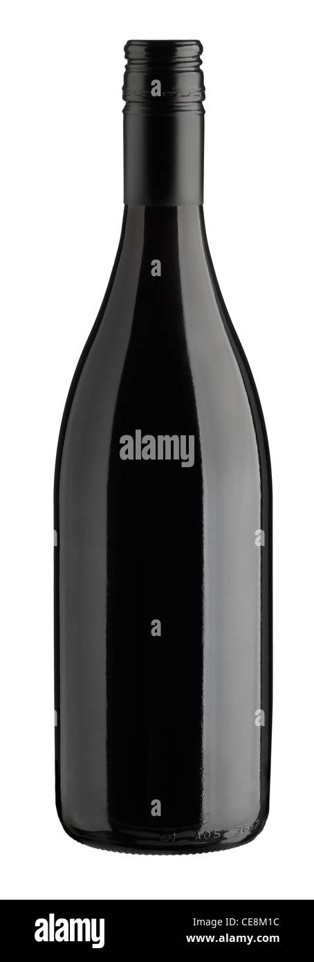 Cleat cut burgundy red wine bottle with screwtop - Stock Image