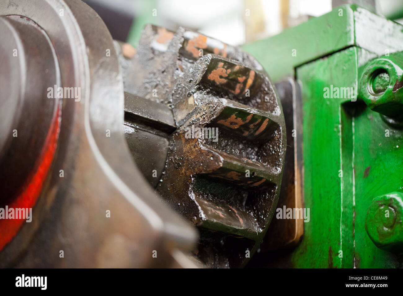 detail of a cog gearing on an old steam engine. - Stock Image