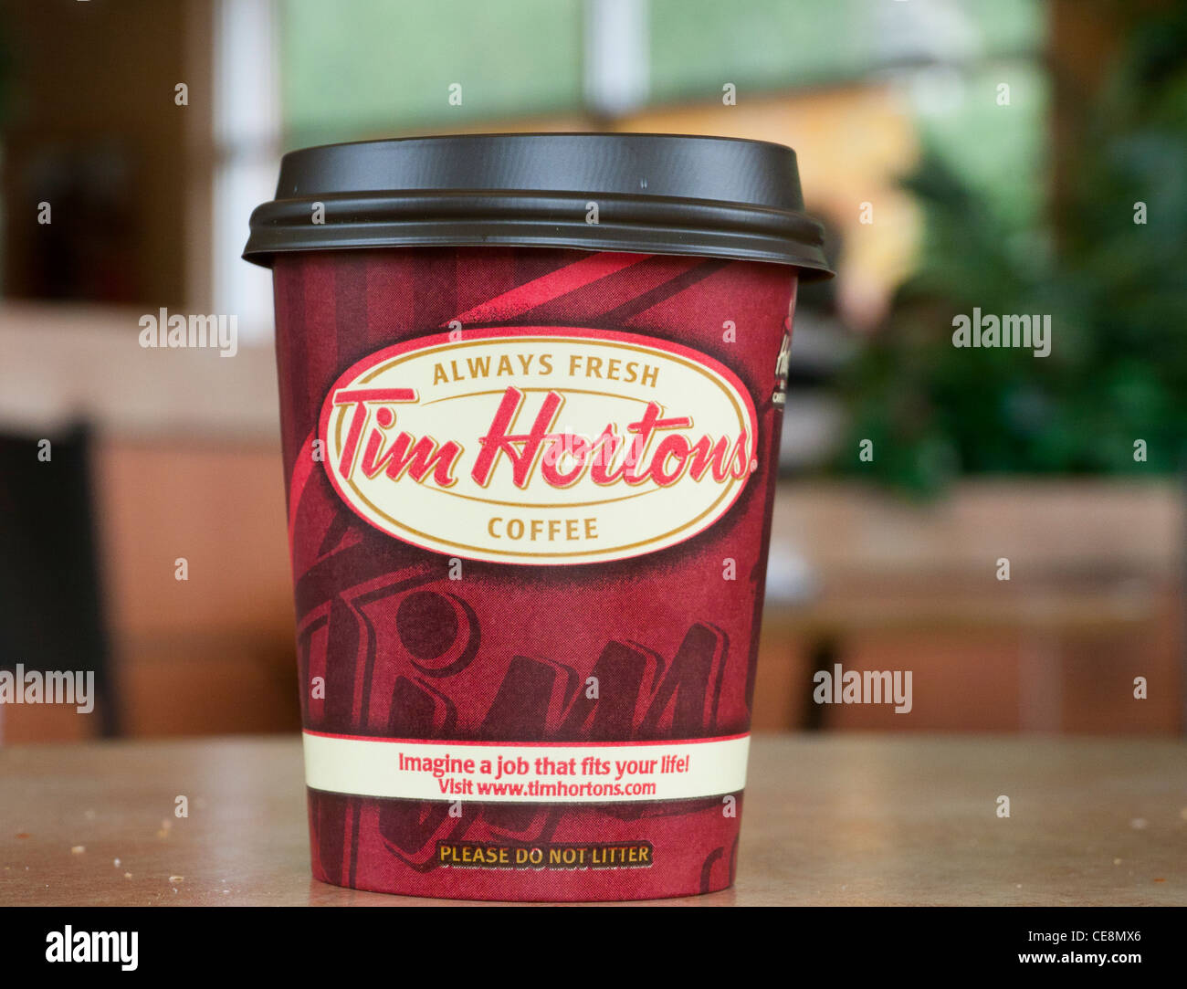 Tim Hortons coffee cup inside a restaurant in Canada - Stock Image
