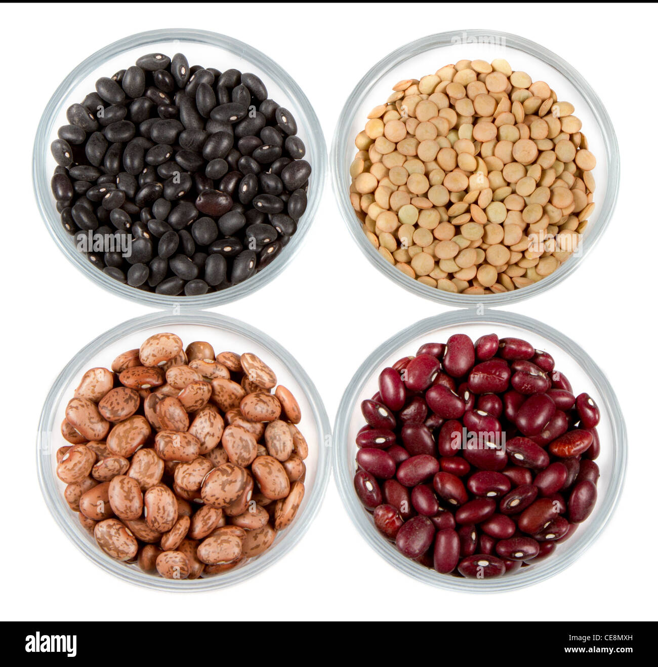 black beans, red beans, pinto beans and lentils photographed in round jars isolated on a white background Stock Photo