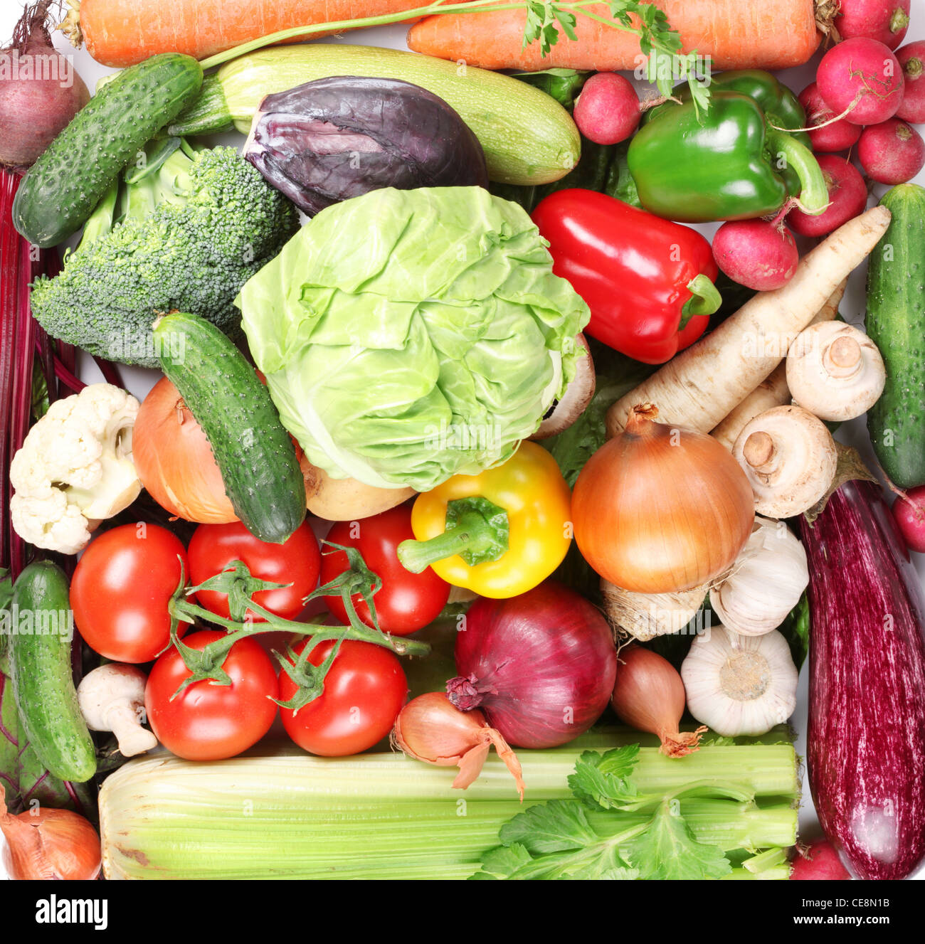 Plenty of vegetables occupy the entire frame. - Stock Image