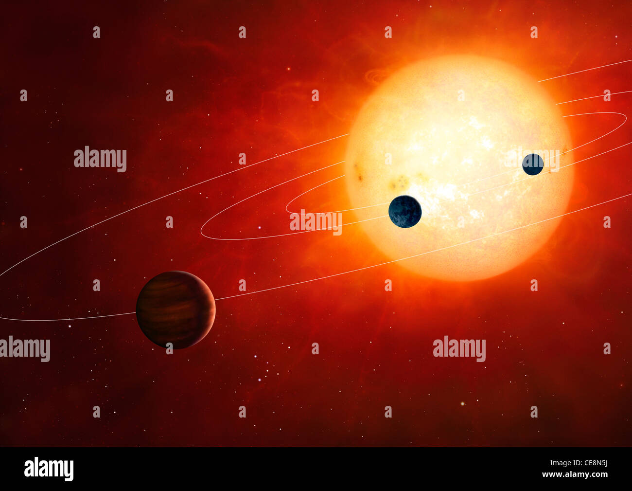 Artwork hypothetical planetary system around sun-like star The planetary system includes rocky gaseous planets in - Stock Image