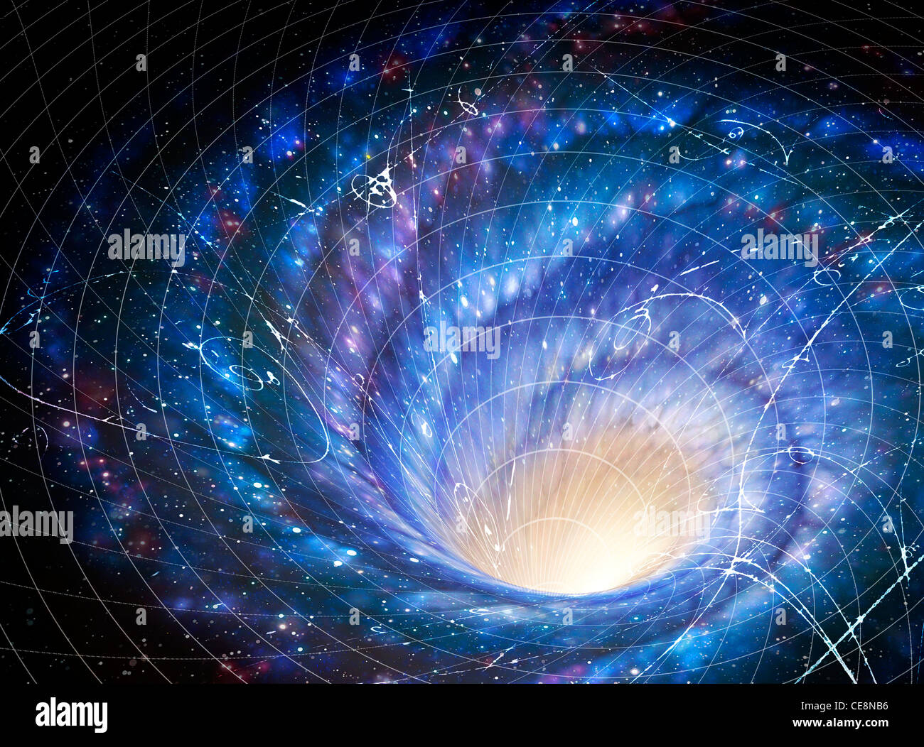 Illustration showing galaxy giant whirlpool in space galaxy's effect on space image shows how gravity galaxy - Stock Image