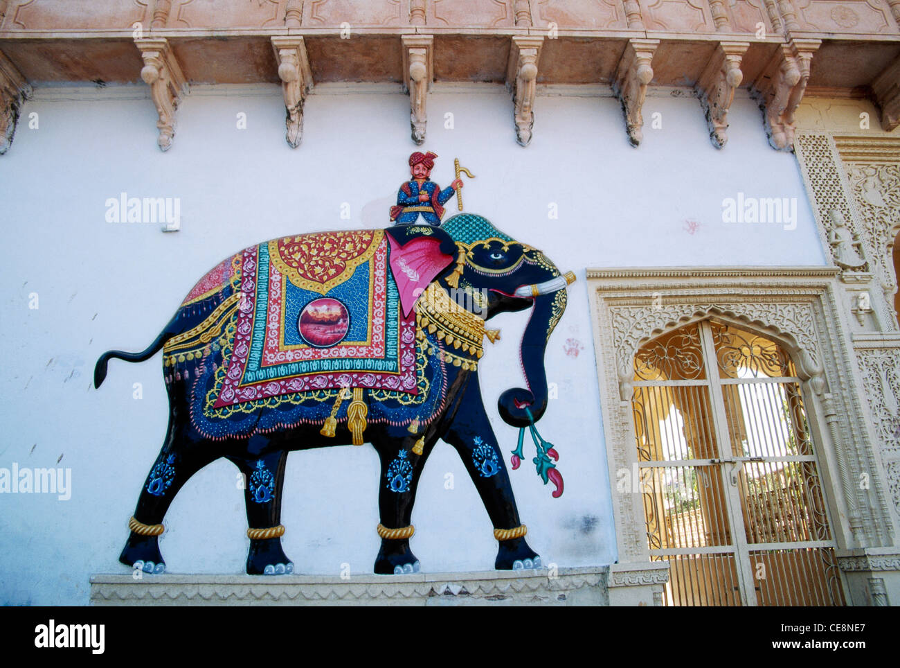 Indian Elephant Wall Painting Nakodaji Jain Temple Rajasthan