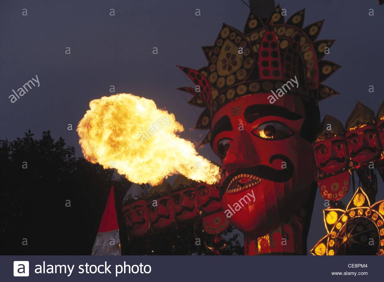 PYP 81237 Ravana Effigy Blowing Fire In Ramleela Dussera Dusera Indian Festival India