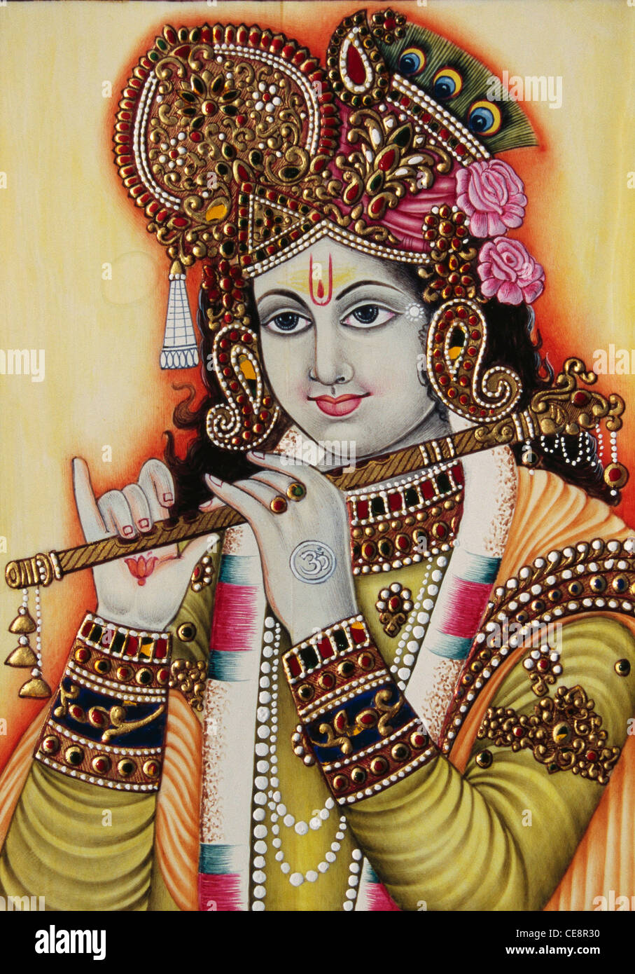 bdr 80566 lord krishna with musical instrument flute miniature painting CE8R30