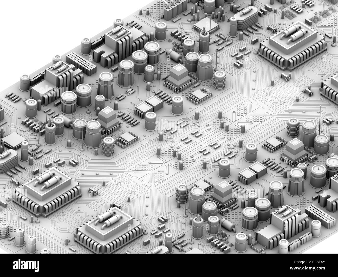 Circuit board. Computer artwork depicting city scape made of Stock ...
