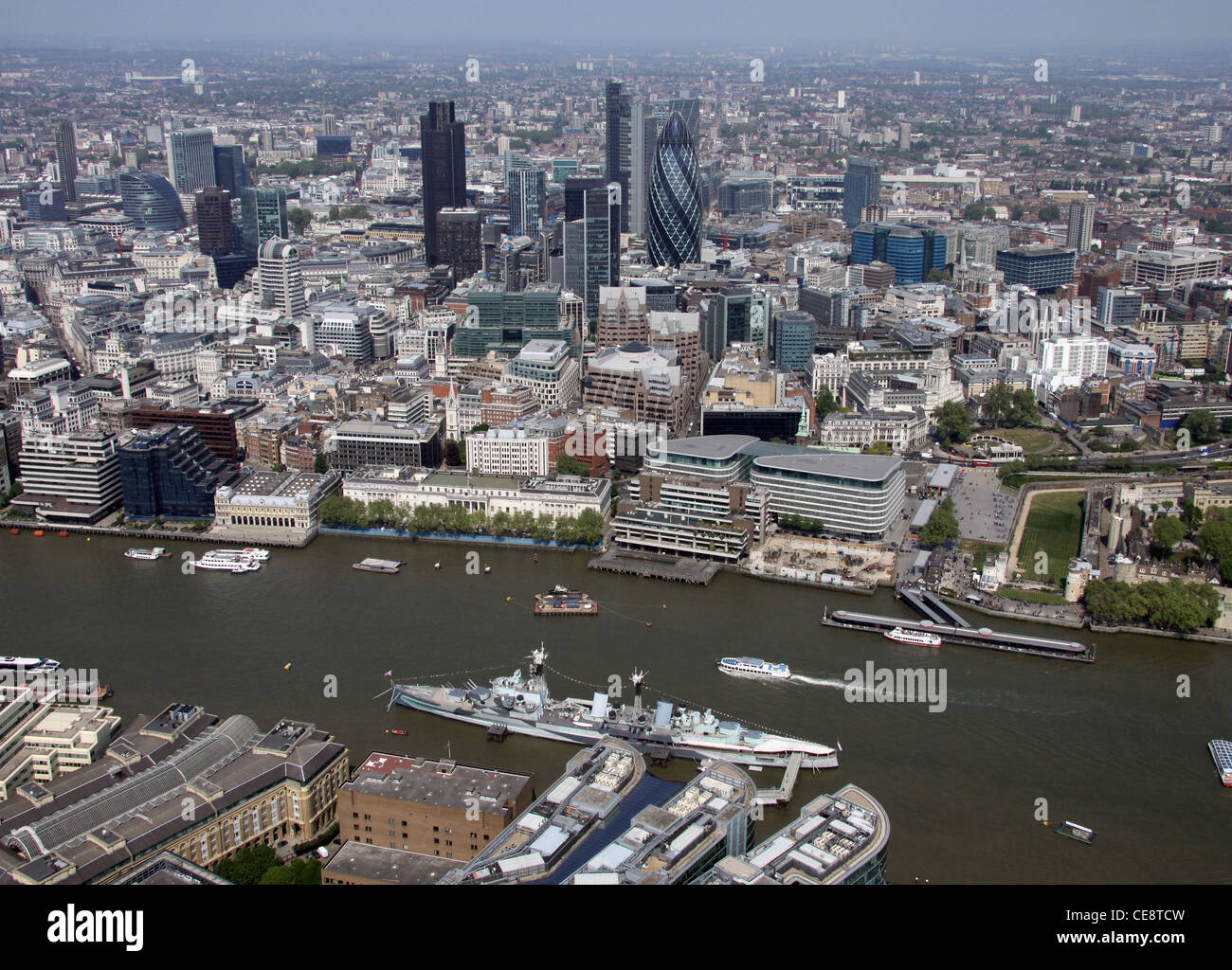 Aerial image of HMS Belfast and the City of London - Stock Image