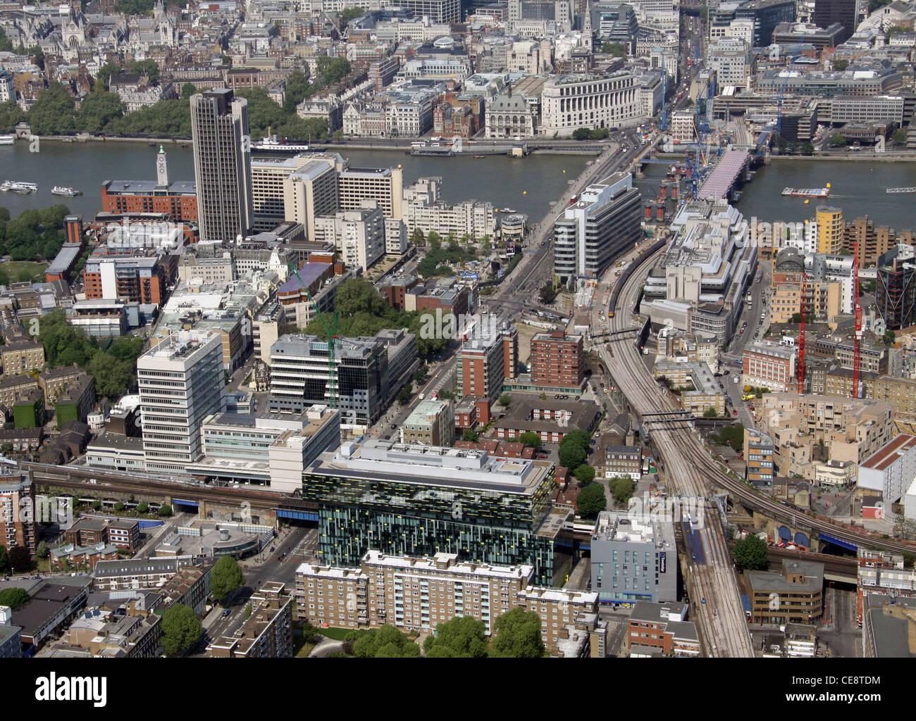 Aerial image of Blackfriars Road and Blackfriars Bridge, London SE1 - Stock Image