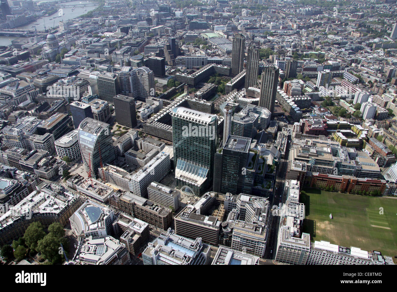 Aerial image of Moorgate Barbican area of London EC2 - Stock Image