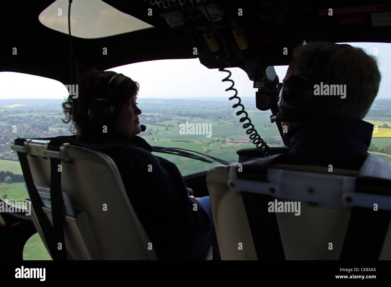 Photograph taken in the air from the inside of a Twin Squirrel helicopter - Stock Image
