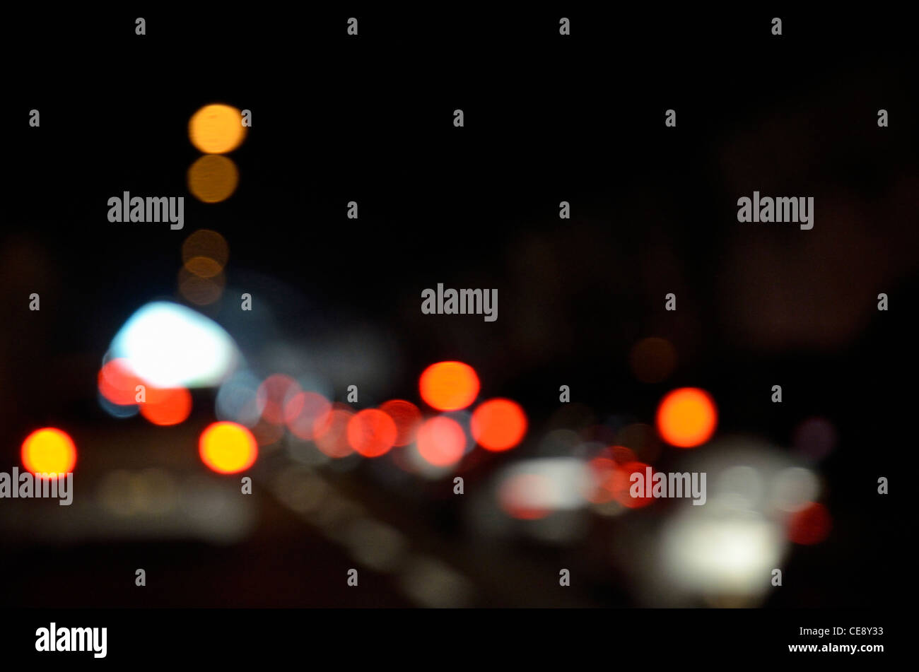 Cars tail lights inside a tunnel (defocused) - Stock Image
