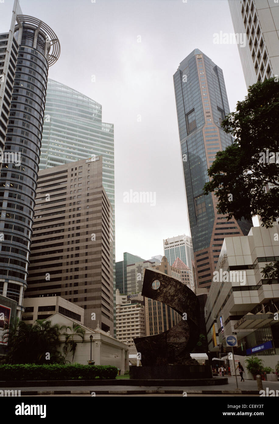 Raffles Place in Central Business District CBD in the Marina Bay area of the city of Singapore in Far East Southeast - Stock Image