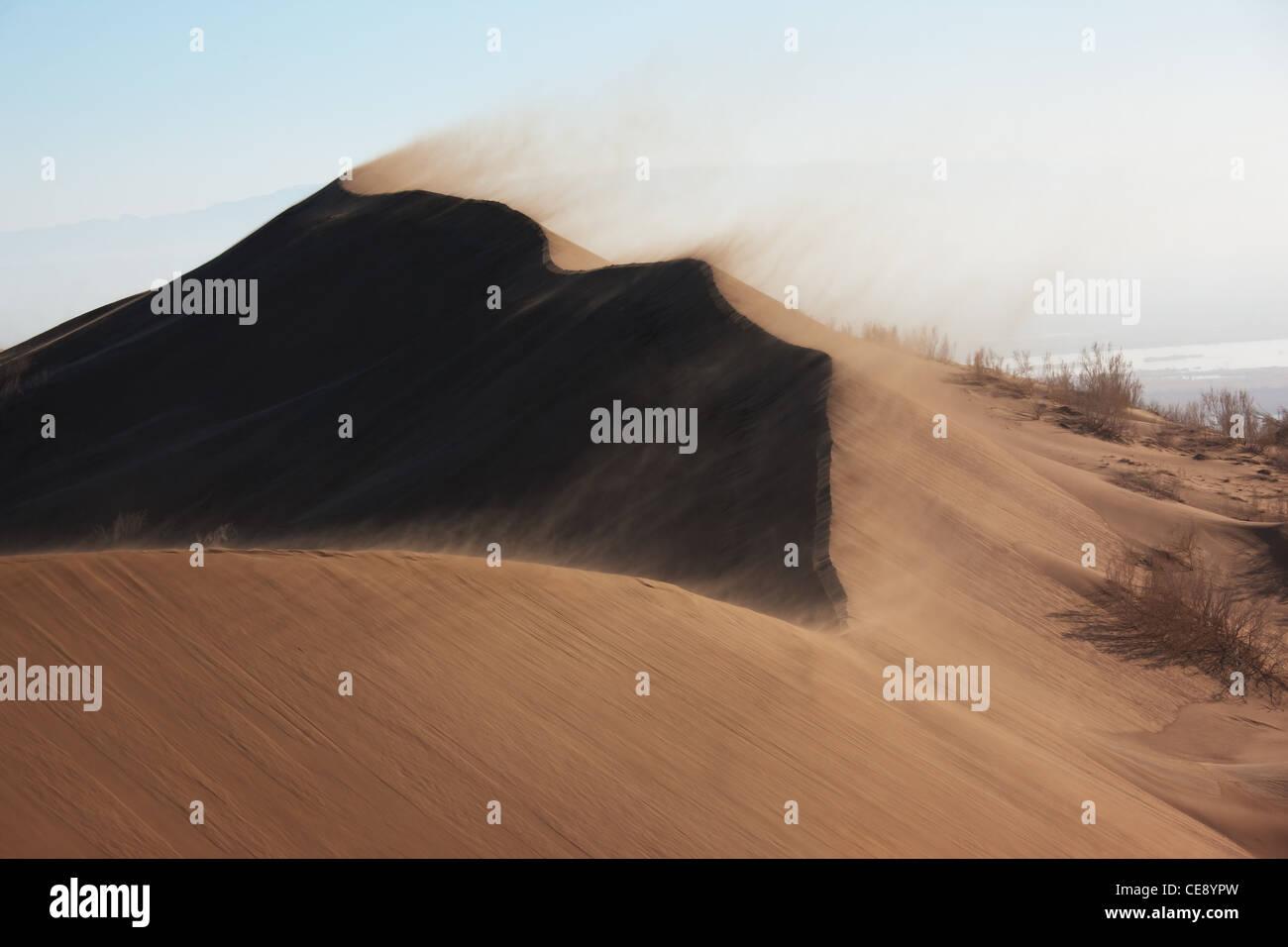 Sandstorm in desert national park Altyn-Emel, Kazakhstan - Stock Image