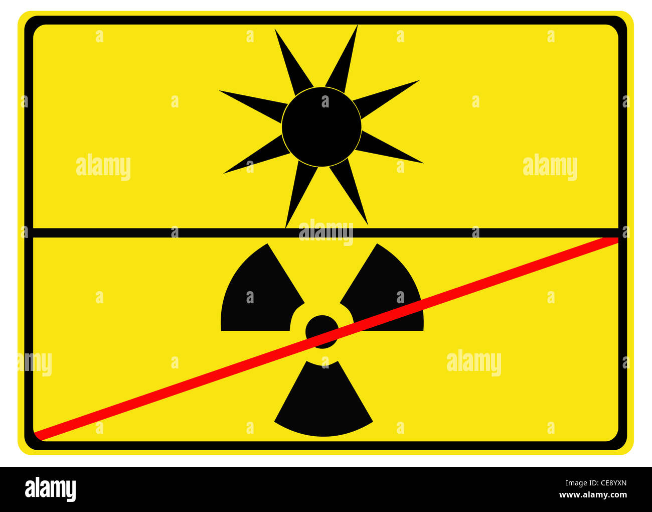 "A sign showing ""Leaving atomic energy towards solar energy"" Stock Photo"