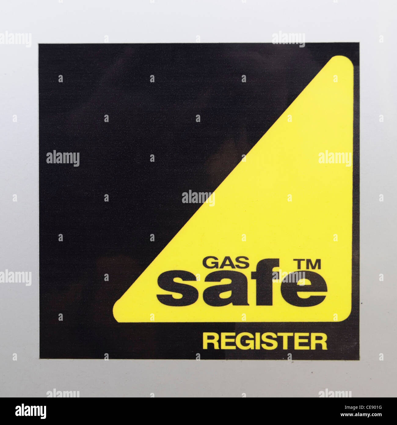 Gas Safe register sticker on Heating Engineer van scheme that has replaced the Corgi system of registration for - Stock Image